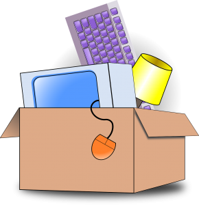 An illustration of some items packed in a cardboard box.