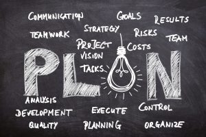 The word plan and some other key terms related to planning written on a black board.